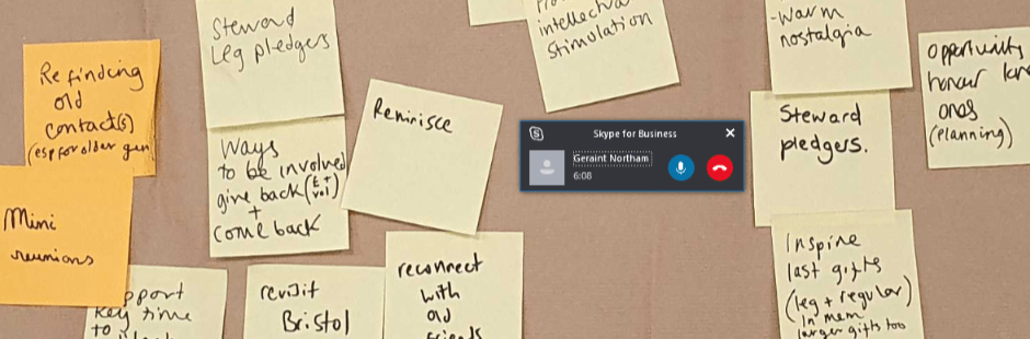 A screenshot showing an ongoing Skype call overlaid on a photo of post-it notes