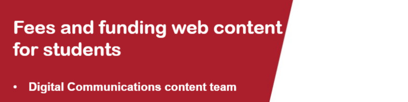 Fees and funding web content - show and tell