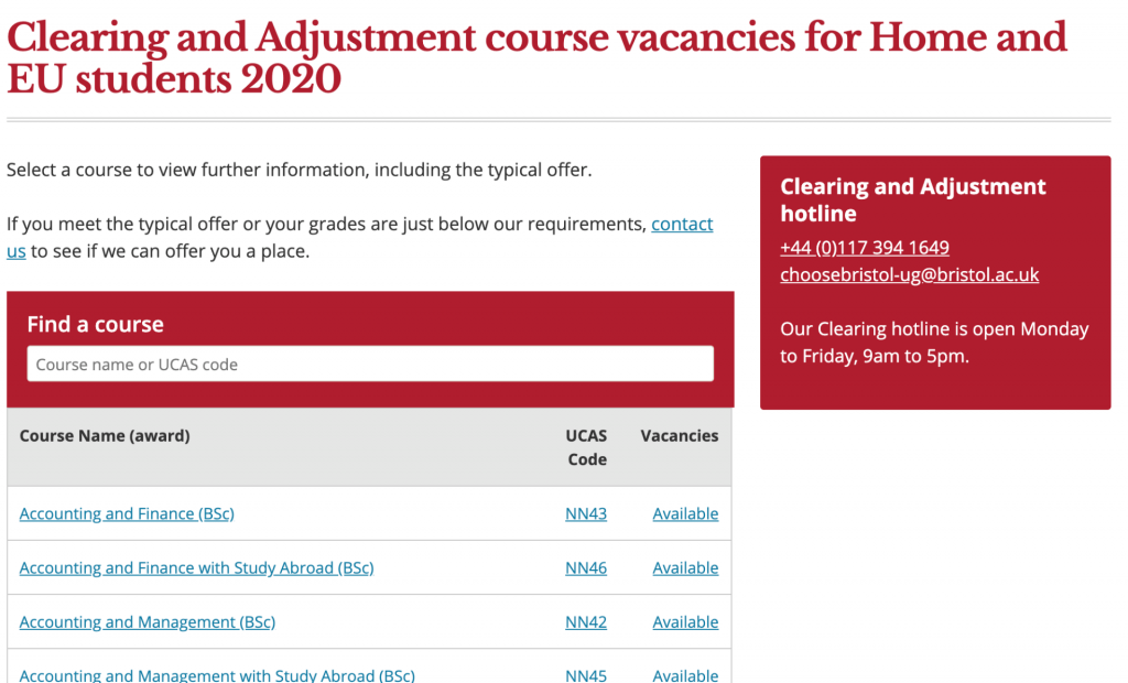 The updated clearing courses table