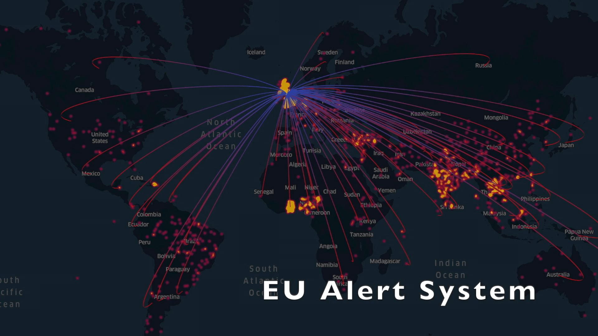 Map of the world where lines between the UK and other countries indicate the countries where alerts from the Rapid Alert System for Food and Feed have originated from
