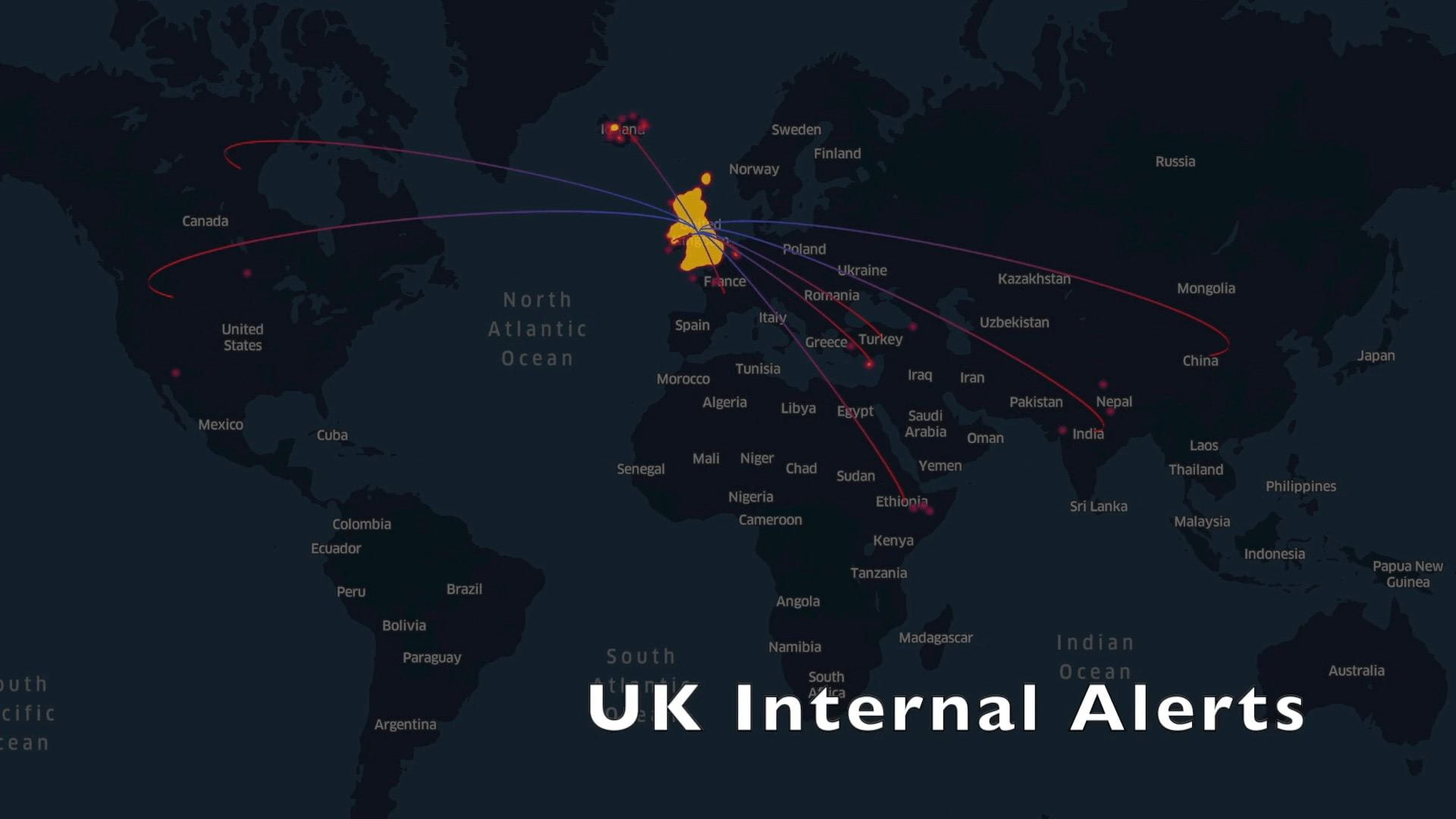 Map of the world where lines between the UK and other countries indicate the 8 countries where alerts from the UK Internal alerts have originated from