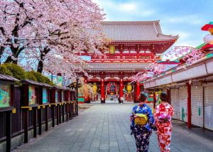 Photo of women in traditional garb in front of a temple in Asakusa