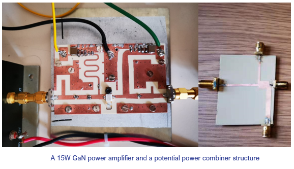 A 15W GaN power amplifier and a potential power combiner structure