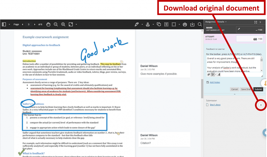 Screenshot showing how to download original file