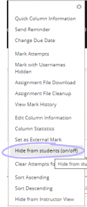 The menu to hide columns from students