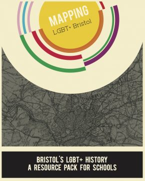 Rainbow circles surround text reading 'Mapping LGBT+ Bristol' superimposed on a black and white map of bristol