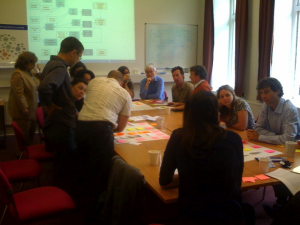 Photo of workshop participants working on a benefits map