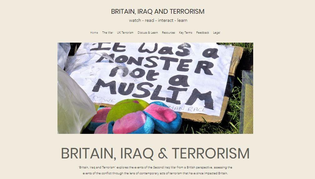 Screenshot of Britain, Iraq and Terrorism website