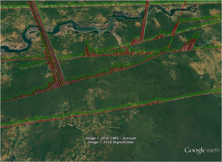 Measurements shown on a Google Earth map