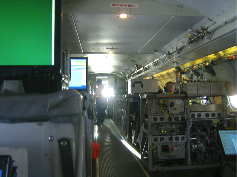Photo Credit: Euan Nisbet. Inside the FAAM atmospheric research aircraft