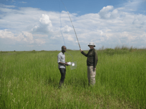 Fig. 7 Musa and Dave fishing for air