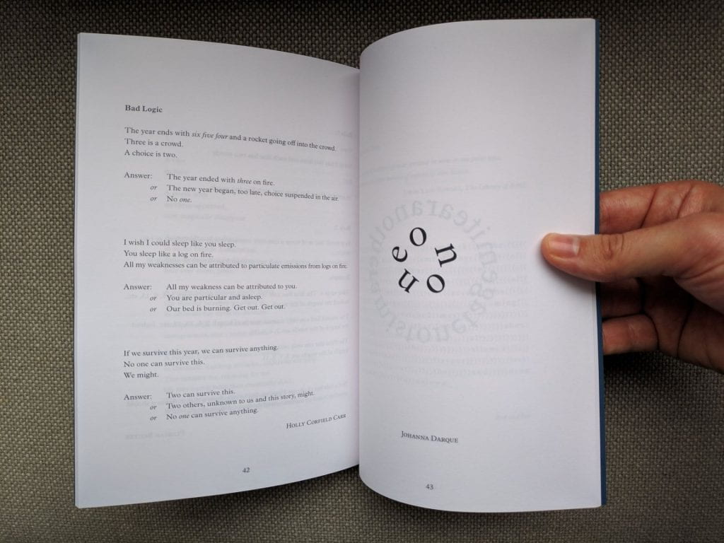 "A preview inside the ""Maths Poems"" anthology. one page displays a poem formated in a problem and answer format, the opposite page shows 5 letters arranged in a circle."