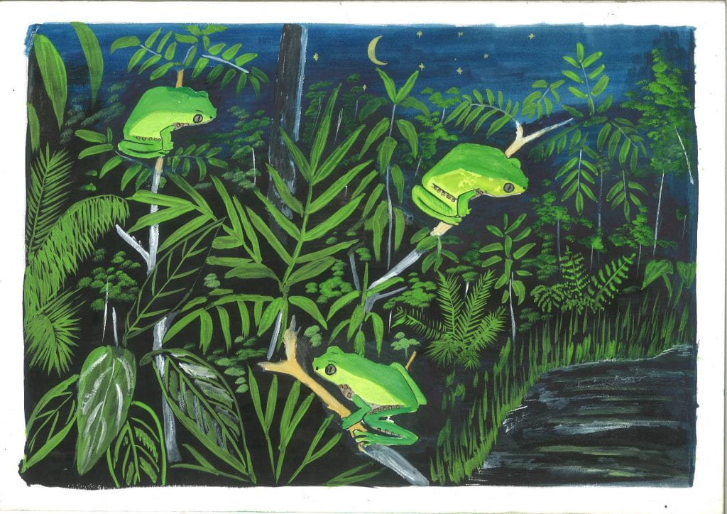 an example of an animation frame showing 3 painted frogs on sticks above the amazon river at night.