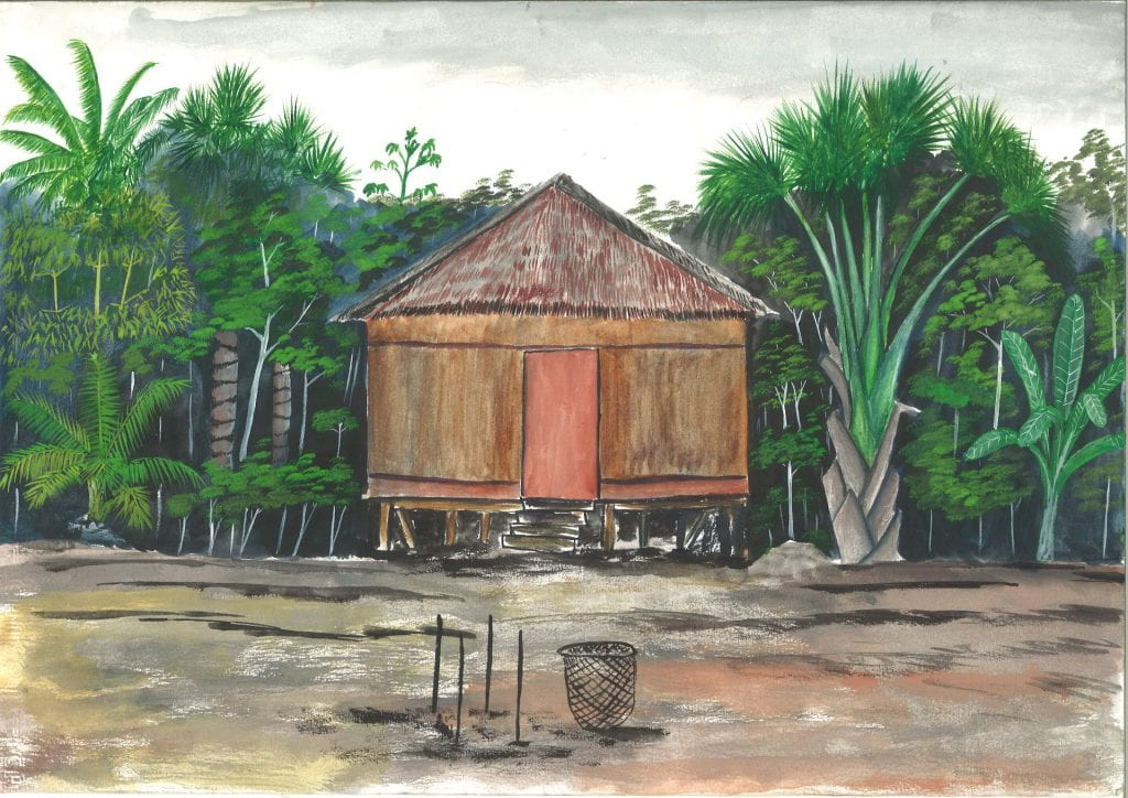 An example of a painted animation frame depicting a thatched hut on stilts at the edge of a jungle.