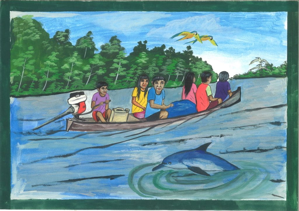 An example of a painted animation frame depicting 6 individuals riding in a canoe on the amazon river with two parrots flying overhead.