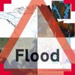 A red triangluar road sign to indicate flooding overlaid with images of flooding maps
