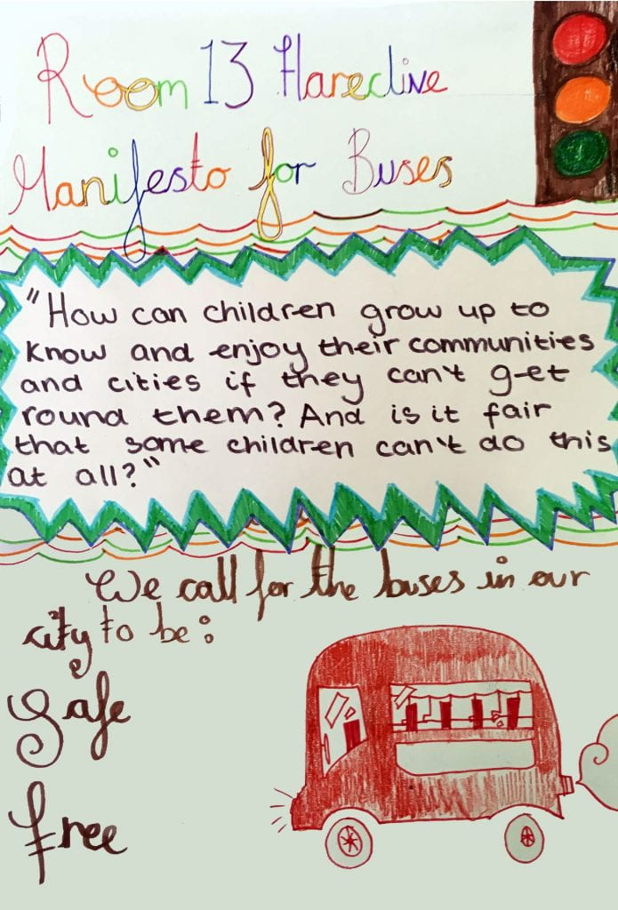 Room 13 Hareclive Manifesto for buses. We call for the buses in our city to be: safe and free.
