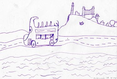 Childs purple drawing of a bus with city in the background.