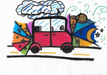 childs illustration of a red bus
