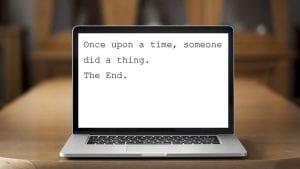Laptop showing joke about writer's block