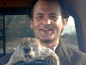 Screengrab from movie 'Groundhog day' showing Bill Murray and the groundhog
