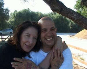 Photograph of Franko B and Marina Abramovic, a still from a Franko B home movie, June 2004