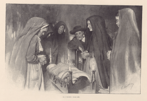 Drawing from Gaston Vuillier's Sorciers et magicieans de la Corrèze depicting an anti-witchcraft ritual