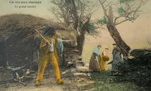 Old French postcard caricaturing rural life, showing man with arm outstretched and three women looking fearful. Text reads 'Le grand sorcier' (The great witch).