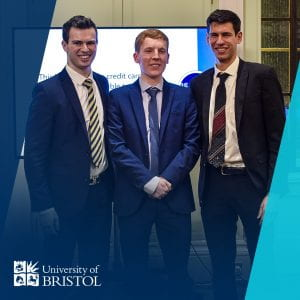 three student winners of the university debate competition