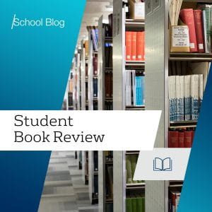 Image of bookshelves with the text: Student Book Review