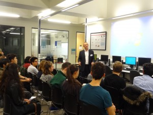 Richard Pither, CEO Cytox Ltd, talking to Biomedical students