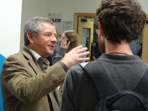 Current student chatting to Tony Stanley, PolyCoversDirect Ltd.