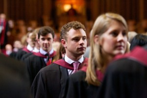 Graduands in the procession out of the Great Hall at the end of a summer 2012 graduation ceremony