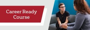 Banner image with career ready course text and two women seated, talking