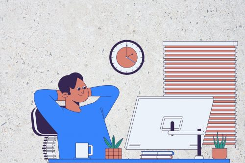 Illustration of a person sitting at their desk in front of a computer with a coffee, looking relaxed