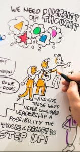 "Image of a hand doing visual note taking. text includes ""we need diversity of thought"" and ""and give those who never considered leadership a possibility the tools and belief to step up"""