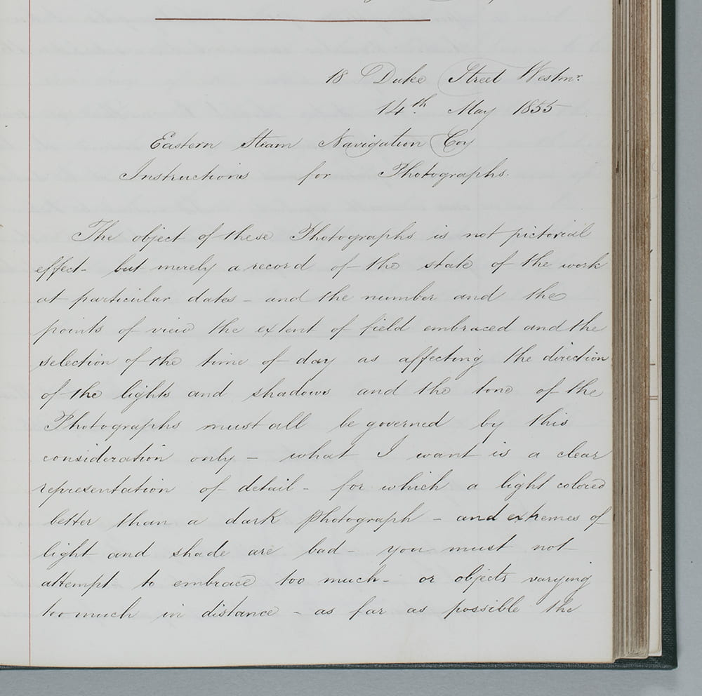 First of page of Brunel's Instructions to Photographers, 14 May 1855. DM1306/11/1/2/folio 85-86.