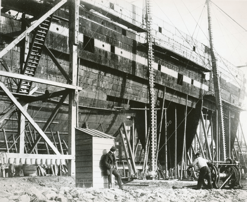 Photograph taken by Cundall and Howlett showing the S.S. Great Eastern under construction. 23 January 1856. Photograph from the University of Bath Special Collections.