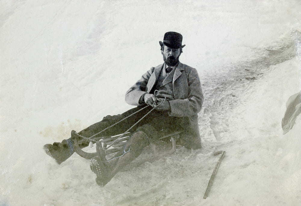 John Addington Symonds on a toboggan, Davos, Switzerland. DM377.