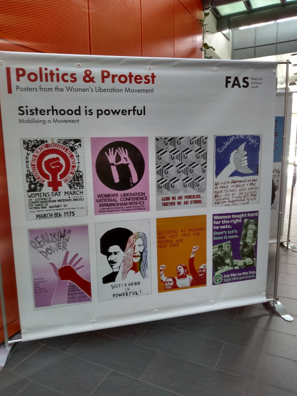 Politics & Protest exhibition banners in the University of Bristol Life Sciences Building.
