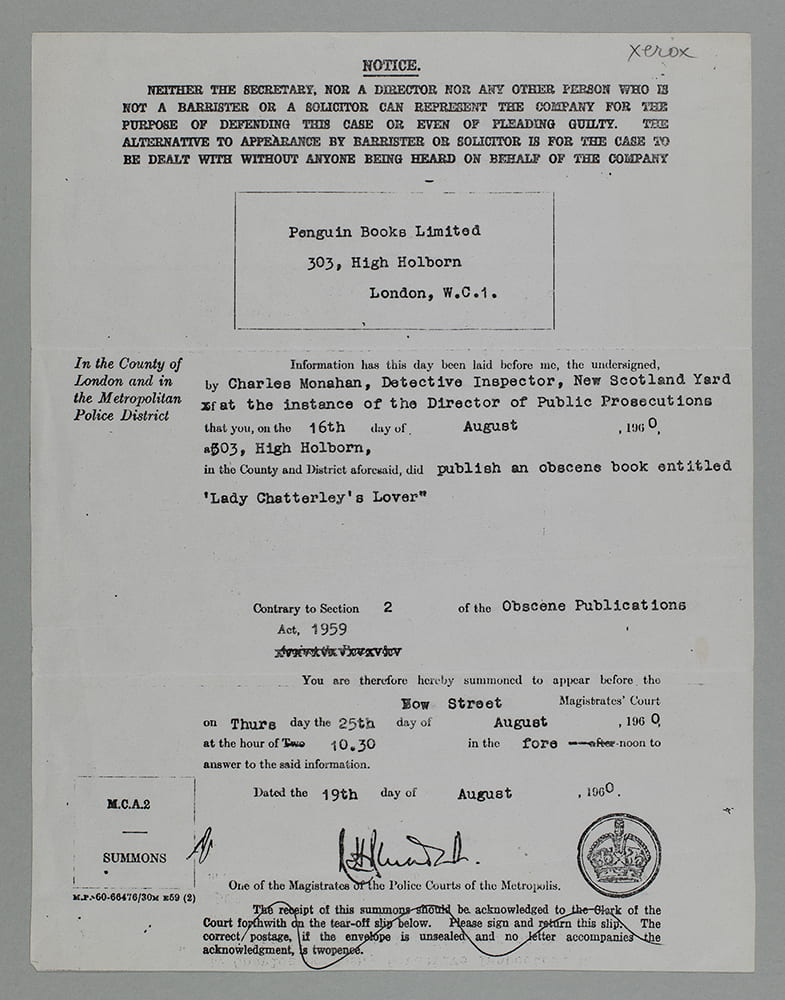 Court summons, dated 19 August 1960. University of Bristol Library Special Collections ref: DM1294/3/4/1/2.