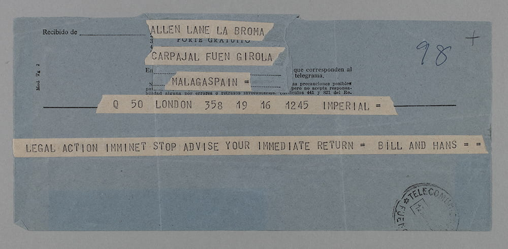 Telegram from W.E. Williams and Hans Schmoller to Sir Allen Lane in Malaga, Spain, n.d. [August 1960]. University of Bristol Library Special Collections ref: DM1294/3/4/1/1.