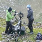 Dr Karen Aplin and Dr Keri Nicoll working on the Snowdon summit