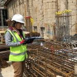 Rachael De'Ath working on site