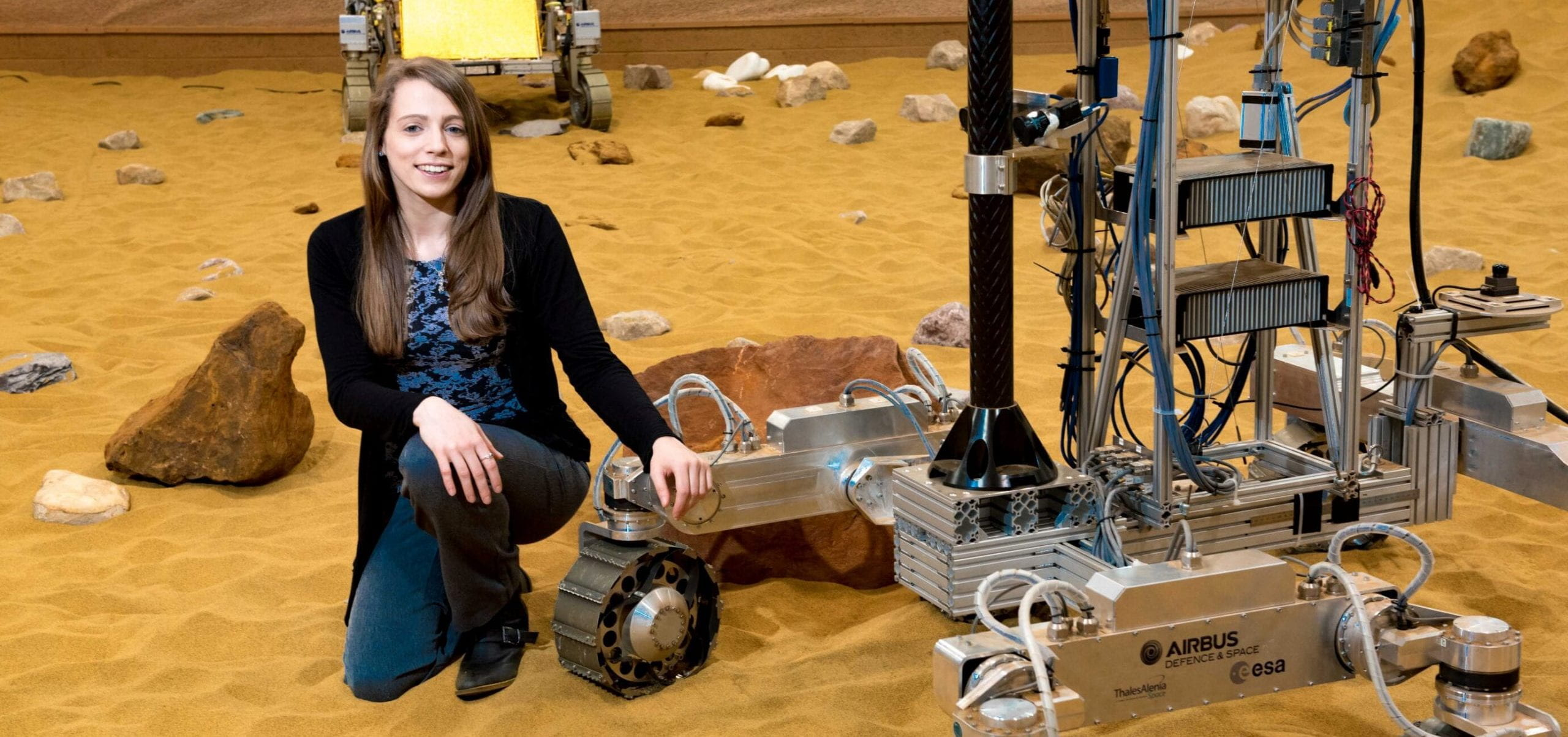 Kat Styles working on the ExoMars rover at Airbus