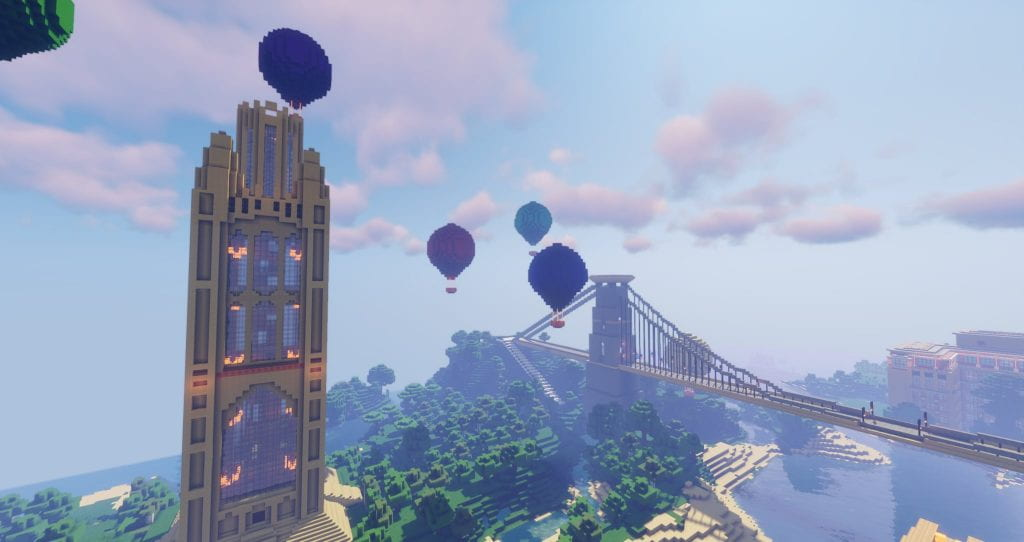 The Wills Memorial Building on Minecraft with the Clifton Suspension Bridge and hot air balloons in the background