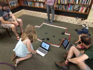 Robot game being played at an outreach event