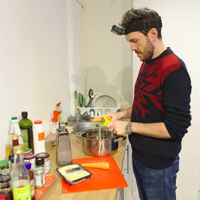 Researcher wearing a headset for kitchen tasks