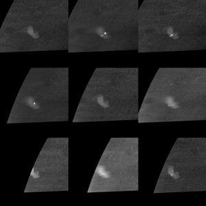 Lightning flashes on Saturn taken by Cassini (NASA)