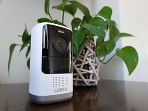 A home surveillance device on a home sideboard